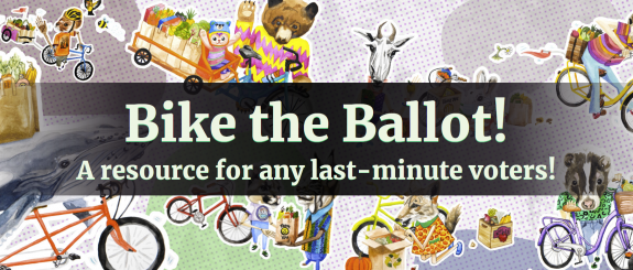 Bike The Ballot promo image with handdrawn animals with bikes and groceries.
