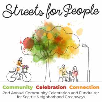 Streets For People promo image. Line drawing of a person on a bike, a tree and people sitting at a table with a splash of color on the treetop.