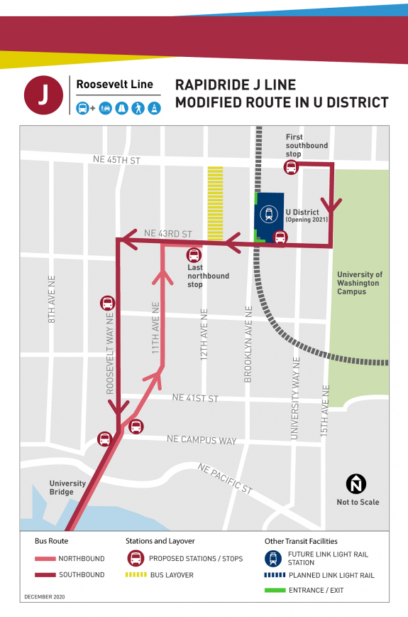 Updated route map in the U District for RapidRide J