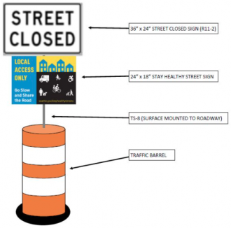 Diagram showing 'street closed' traffic barrel