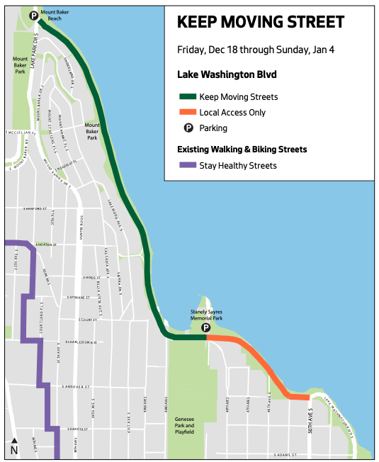 Map showing closed Lake Washington Boulevard