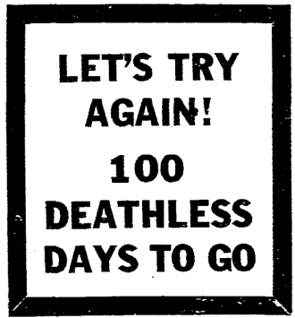 Let's try again! 100 deathless days to go.