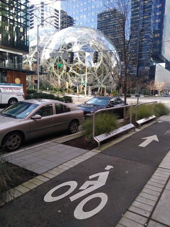 One way bike lane and lean rails next to the Amazon spheres