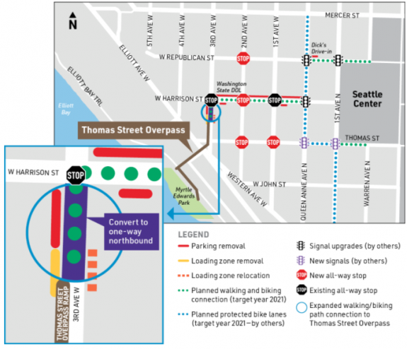 Map showing the planned connections between the Thomas Street overpass and the Seattle Center bike facilities.