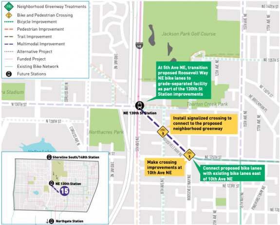 Map of improvements on Roosevelt Way near 130th St Station