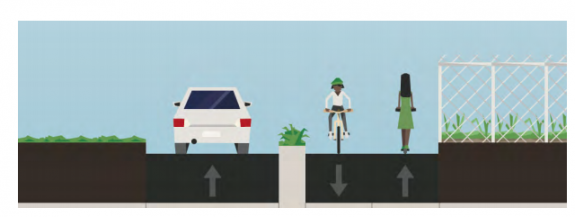 No accessible space where sidewalks would go, one travel lane northbound, and two lanes depicted with a bike and scooter rider headed in opposite direcitons