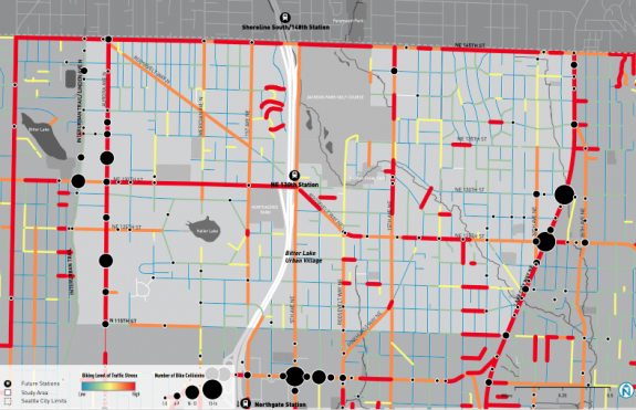Map showing the street grid with orange and red mostly on arterial streets