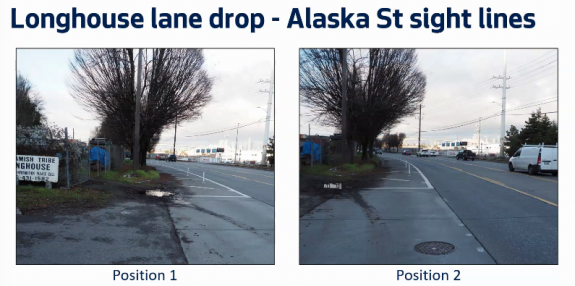 Image showing side by side of sight lines at Alaska Street next to the Duwamish Longhouse, much better with the lane reduction