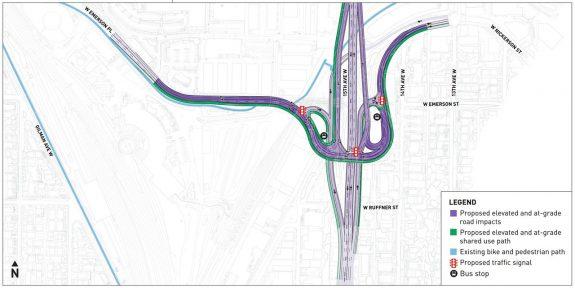 Concept map for a freeway-style interchange south of the Ballard Bridge.