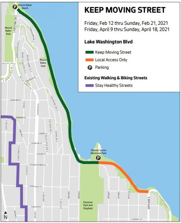 Map showing closure to vehicles from Mount Baker Beach to Stan Sayres Memorial Park.