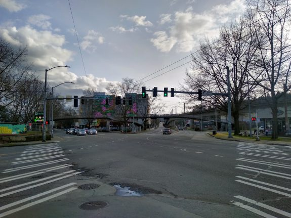 Rainier and MLK Intersection with missing crosswalks on two legs