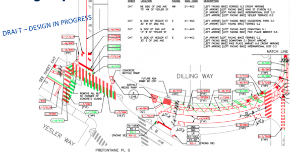 Blueprints showing Dilling Way and 3rd Ave as described