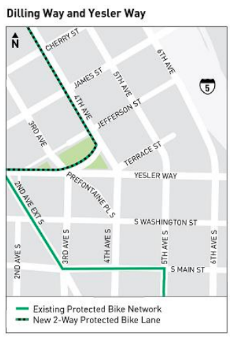 Map showing planned connection on Dilling between 4th and 3rd