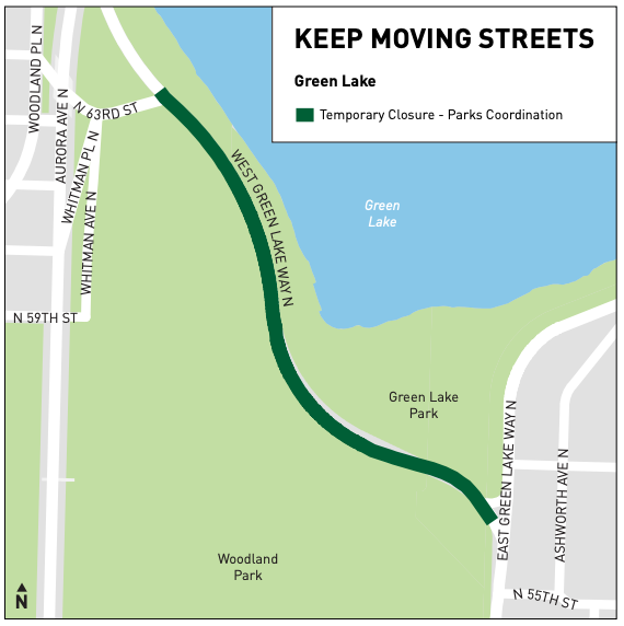Green line connecting East Green Lake Way N with N 63rd Street between Woodland Park and Green Lake Park.