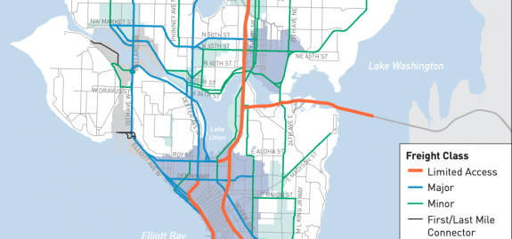 Blue lines on a map of Seattle indicating Major freight streets in Interbay and Ballard connecting to I-5 north and south of the canal