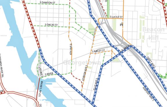 Major connections: East Marginal, Airport Way, Ellis