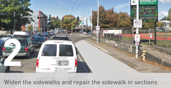 Text reading Widen the Sidewalks and repair the sidewalk in sections with enlarged sidewalk on Rainier at MLK