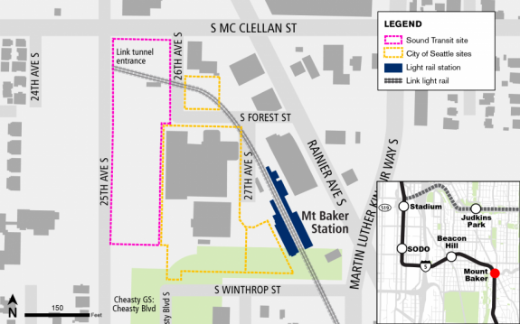 Map of station area with all land between the station and 25th Ave S as under consideration for housing