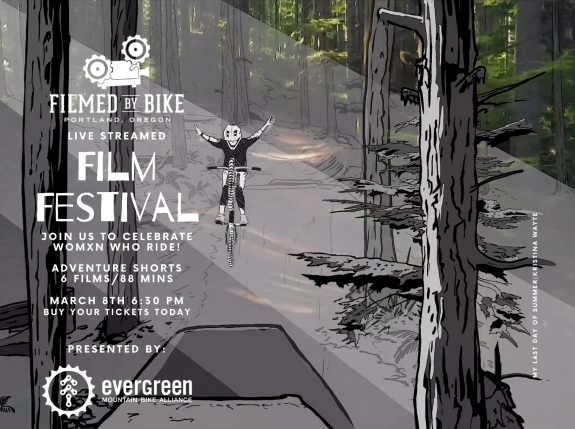 Filmed By Bike event poster. Person doing a jump on a bike in the woods.
