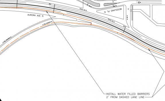 Blueprint showing walk bike and rolling lane on Aurora