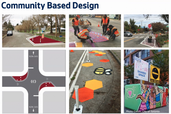 Powerpoint slide with different street treatments including paint curb bulbs, ecoblocks with art on them