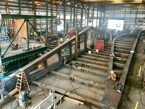 Photo of a piece of the bridge under construction off-site.