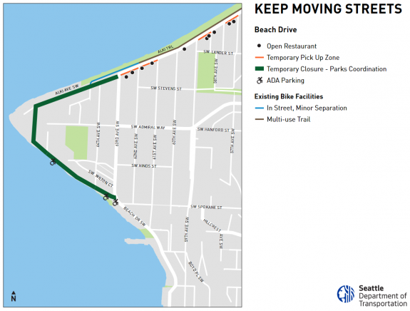 Map of the Alki Point route.