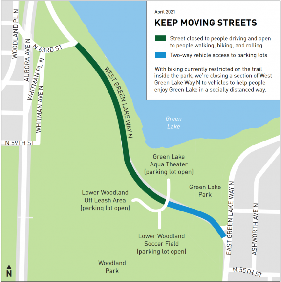 Map of the modified Green Lake route.