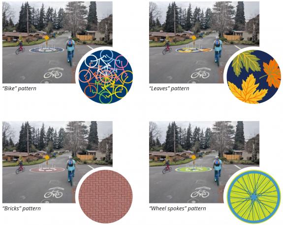 The four design options, bike, leaves, bricks or wheel spokes.