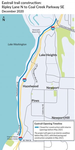 Map of the 2.5 mile section