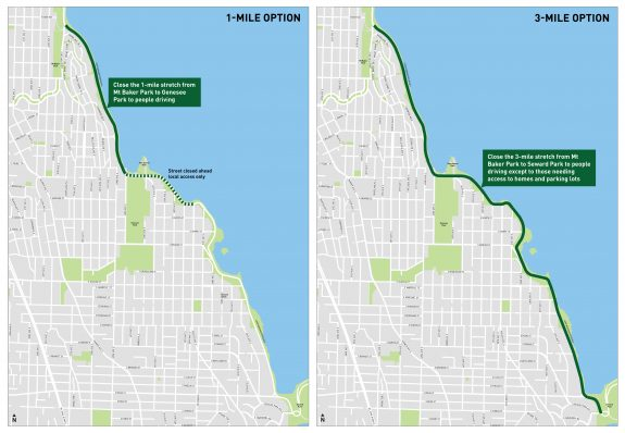 Maps comparing the 1-mile and 3-mile options for Lake Washington Boulevard.