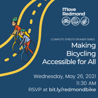 Event poster. Making bicycling accessible for all. May 26 11:30 a.m.
