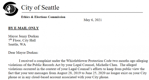 Screenshot of the start of the SEEC's letter to Mayor Durkan.