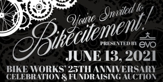Bikecitement event poster. June 13. Bike Works 25th Anniversary.