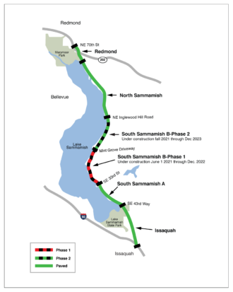 Map of the trail segments.