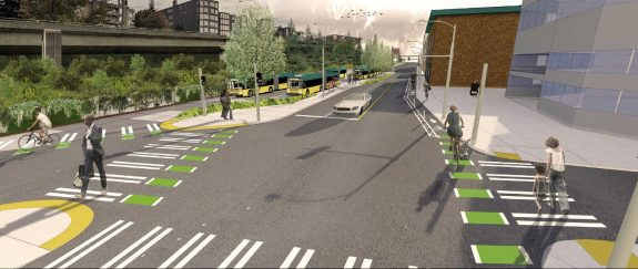 Concept image of the new bus layover space and sidewalk.