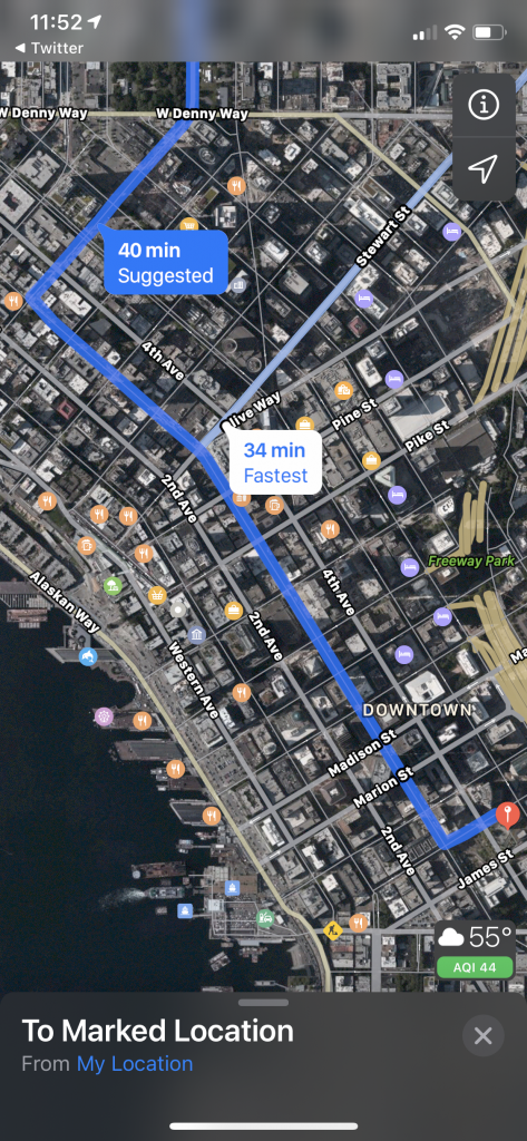 screenshot showing Apple Maps suggesting 3rd Avenue downtown.