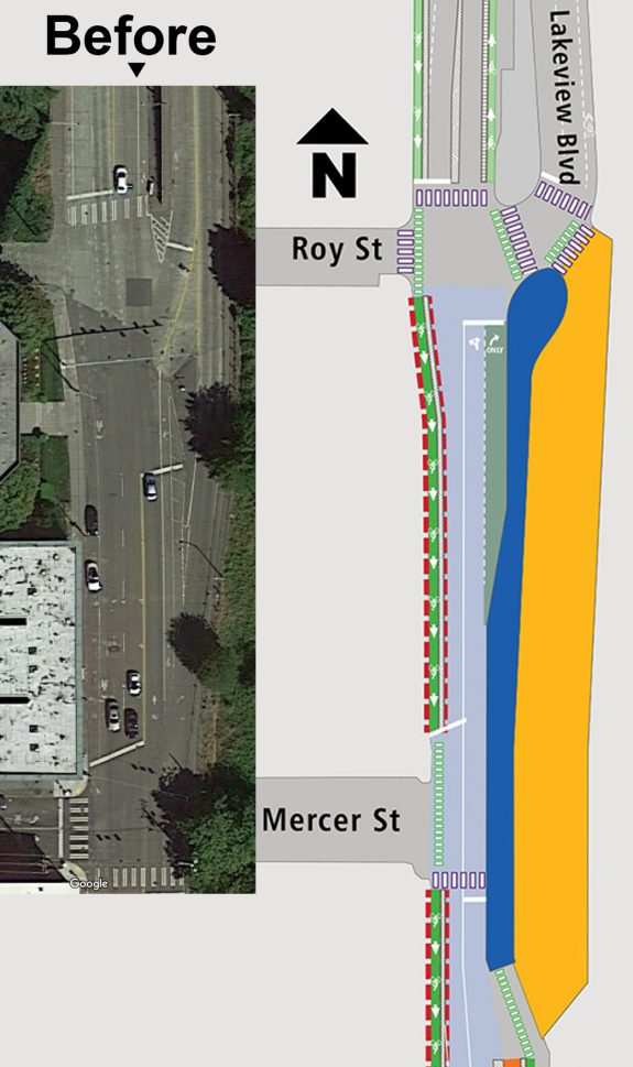 Maps comparing the current satelite image of the intersection to the planned design.