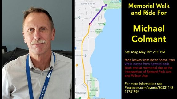 Photo of Michael Colmant and a map of the planned walk and ride.