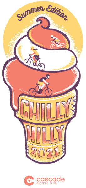 Chilly Hilly logo, an ice cream cone with people biking up the swirls.