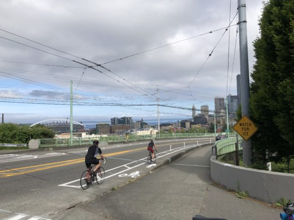 People biking in the new bike lanes with downtown in the background.