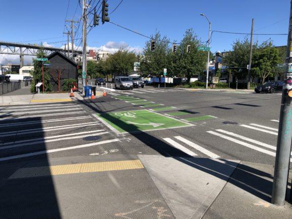 New larger sidewalk extention where the Burke crosses Stone.
