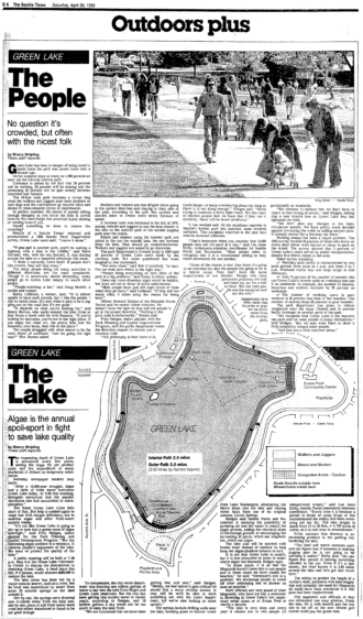 1983 newspaper clip about crowding at Green Lake.