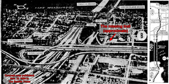 1966 concept map for planned freeways with the current missing trail marked.