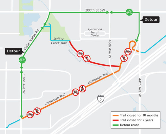 Map of the closure and detour.