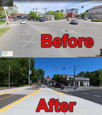 Before and after photos at Green Lake Way and Ravenna Boulevard..
