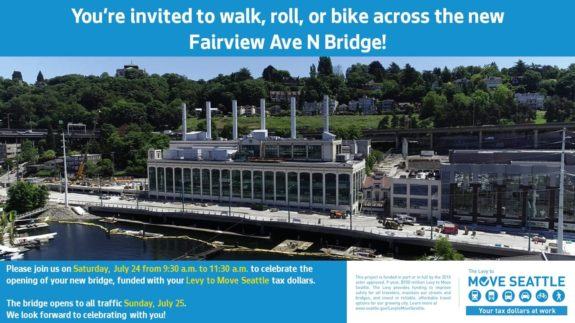 Photo of the under-construction bridge with event details also in body text.