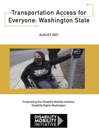Cover image for the report, featuring a photo of a person in a wheelchair pushing a crosswalk button.