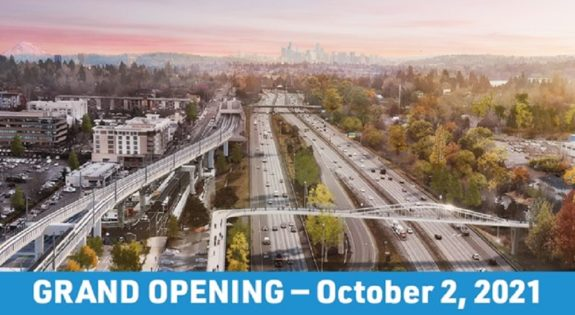 Invitation image with an aerial concept image of the bridge. Text: Grand opening october 2, 2021.