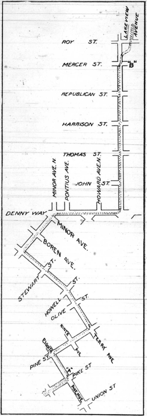 Map of the bike route from 8th and Pike to Lakeview Boulevard, travelling along Pine, Terry, Minor, Denny, and Eastlake.